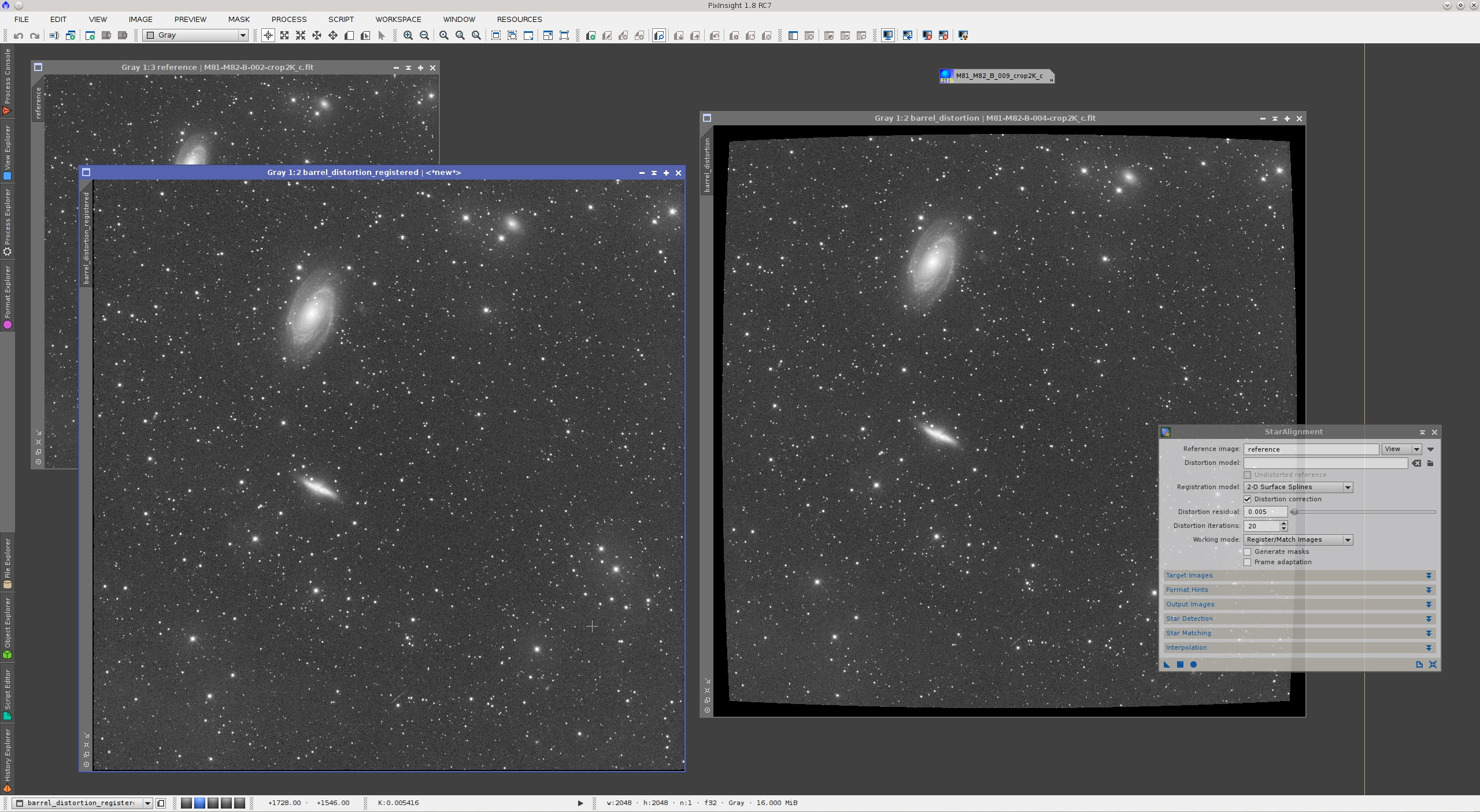 PixInsight — Arbitrary Distortion Correction with StarAlignment